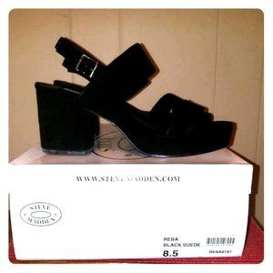 Black Suede Slingback Platform Sandal